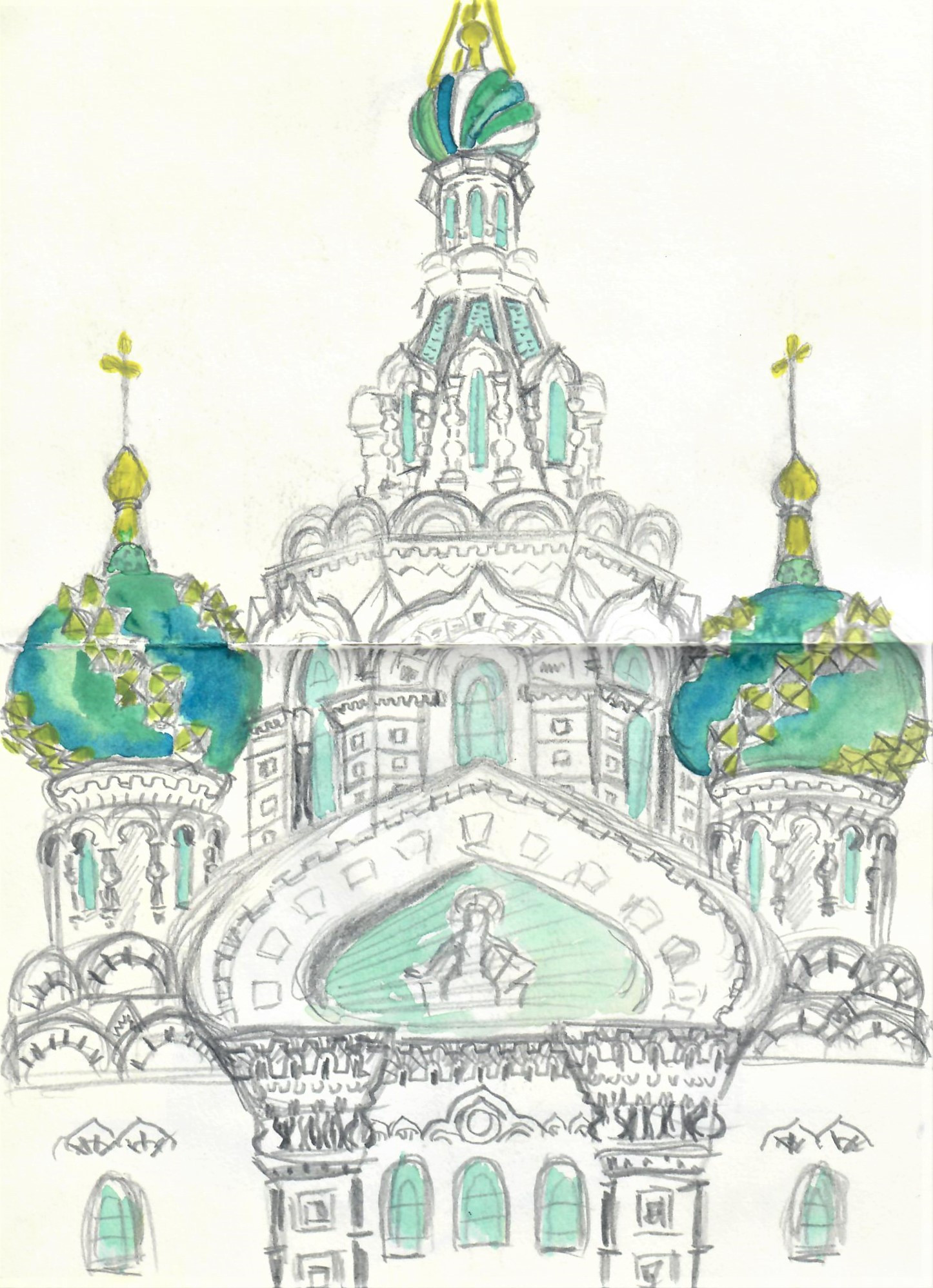 Pencil sketch of decorative building in Saint Petersburg, Russia