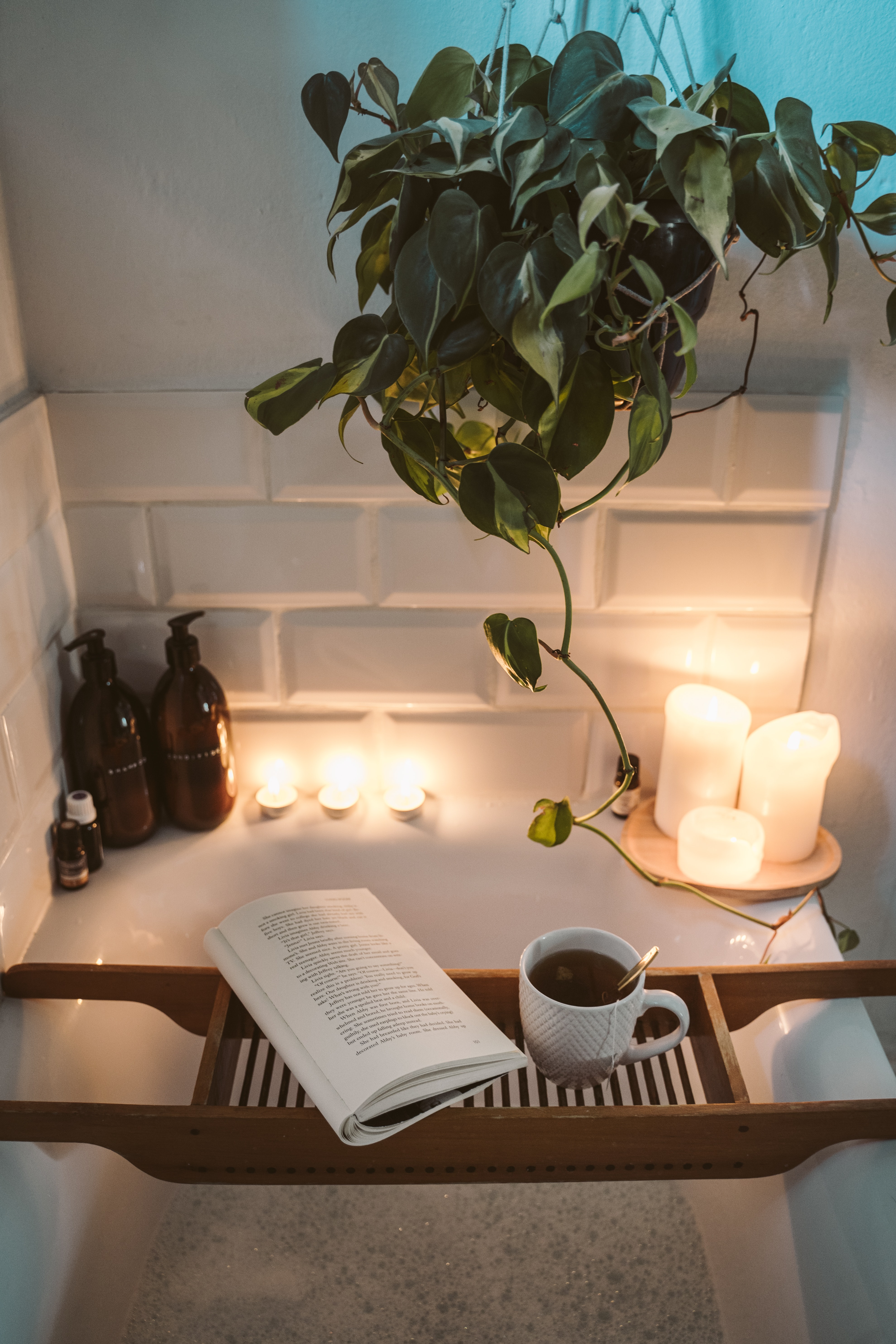 Candlelit bathtub with plant and coffee cup